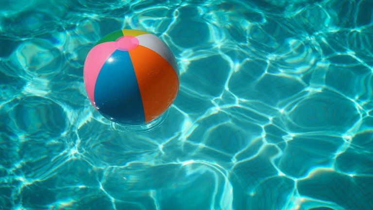 inflatable ball floating in the pool