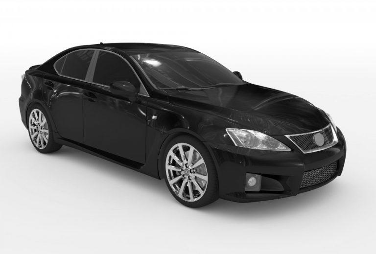black sedan with tinted window